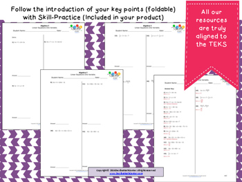 STAAR Practice-Foldable and Skills Algebra I, Category 3, TEKS A.5(A)