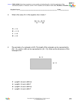 STAAR-Practice Quiz, Category 3, TEKS A.5(A)