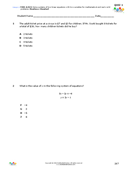 STAAR-Practice Quiz, Category 3, TEKS A.5(C)