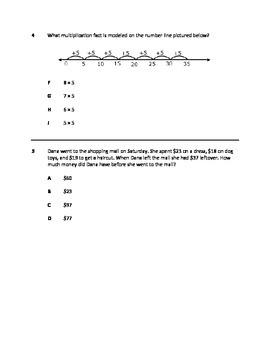 STAAR Practice Test 3rd Grade NEW TEKS