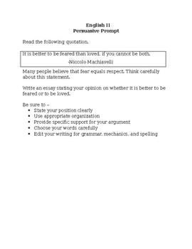 Staar persuasive essay prompts