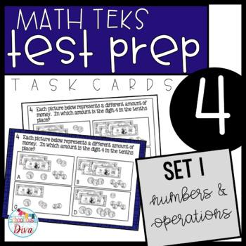 4th Grade Math TEKS Task Cards Set 1