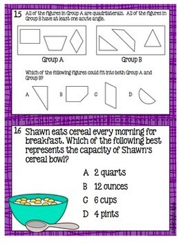 4th Grade STAAR Math Task Cards - Set 4