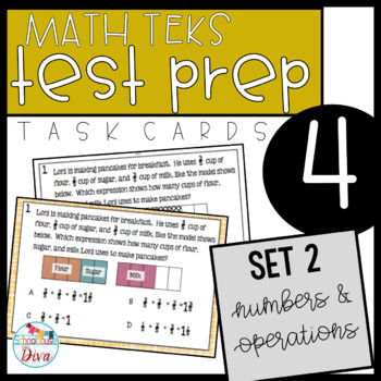 4th Grade Math TEKS Task Cards Set 2