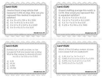 STAAR Prep Math Task Cards - Numbers and Operations - Grade 5