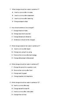 STAAR Punctuation Unit Test Using 2017 Punctuation Questions as a Guide