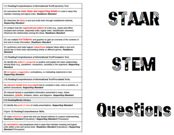 STAAR Question Stem Cards - UPDATED for 2014 releases