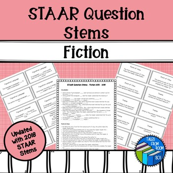 STAAR Reading Question Stem Cards - Fiction - Grade 6-8