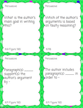 STAAR Question Stems Task Cards - 6th Grade Reading - STAAR Test Prep/Review