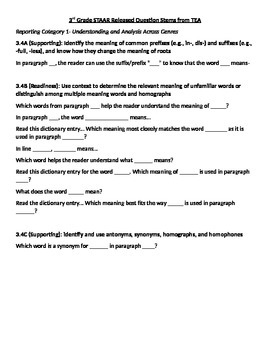 STAAR Question Stems for 3rd Grade Reading