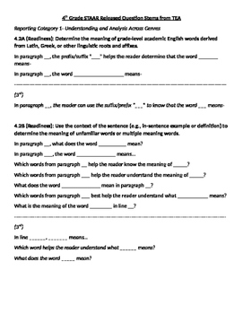 STAAR Question Stems for 4th Grade Reading