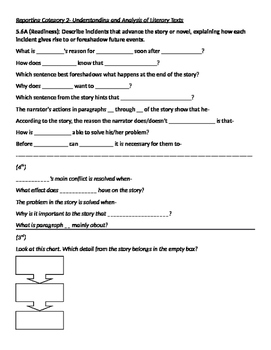 STAAR Question Stems for 5th Grade Reading