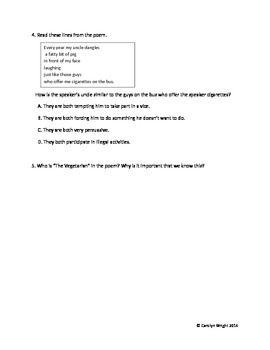 STAAR Questions for Poetry Friday Anthology Poems
