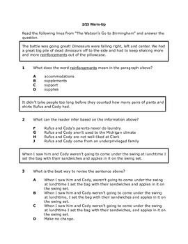 "STAAR Questions for ""The Watson's Go to Birmingham-- 1963"""