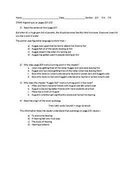 STAAR Quiz on Wonder pages 207-213