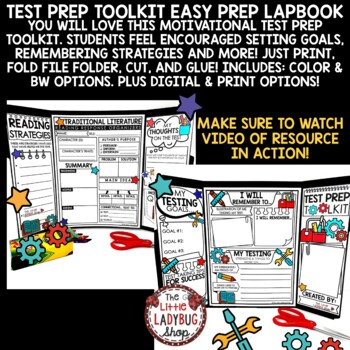 Reading Test Prep 3rd Grade, 4th Grade- Test Prep Review Lapbook