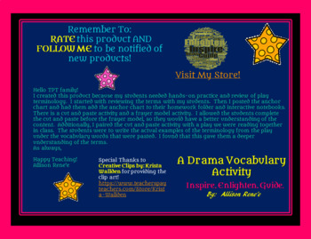 STAAR READY! So DRAMATIC! Drama/Play Vocabulary For 3rd-5th Grade
