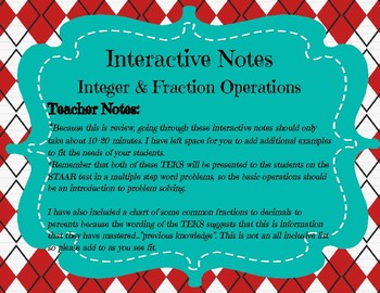 STAAR REVIEW BUNDLE: 7th Grade Math Reporting Category 1: Operations