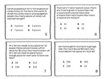 STAAR Readiness 4th Grade Math Test Prep Task Cards BUNDLE