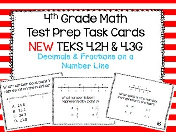 STAAR Readiness Test Prep Task Cards 4th - NEW 4.3G (CCSS 4.NF.6)