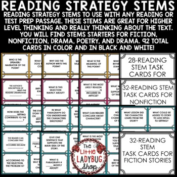 Reading Test Prep Question Stems [Fiction, Nonfiction, Poetry, and Drama]- TEXAS