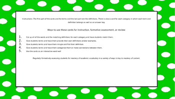 STAAR Reading Academic Vocabulary Matching Cards