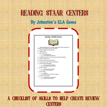 Reading STAAR Centers Checklist