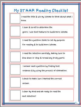 STAAR Reading Checklist