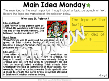 Reading Morning Work Spiraled Review: St. Patrick's Day Edition