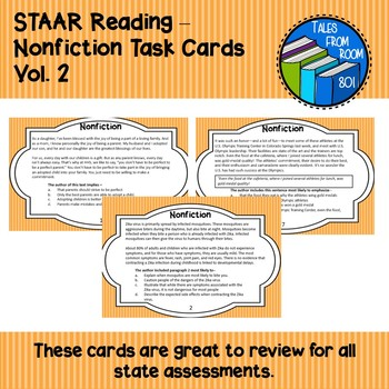 STAAR Reading - Nonfiction Task Cards - Vol. 2