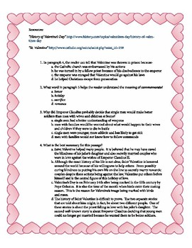 STAAR Reading Practice-Expository/Informational-Valentine's Day