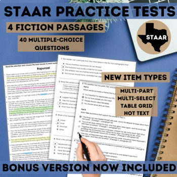 STAAR Reading Prep Practice Test Set 1 for Google Forms™