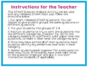STAAR Reading Question Analysis (can be used with any test!)