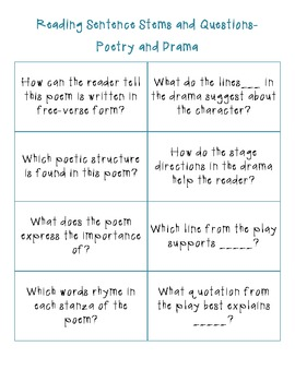 STAAR Reading Question and Sentence Stems by Cranberry | TpT
