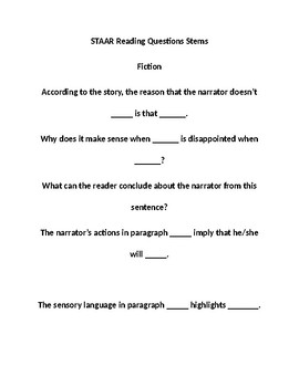 STAAR Reading Questions Stems Ficiton