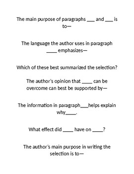 STAAR Reading Questions Stems Non-Ficiton