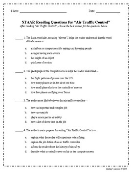 "STAAR Reading Questions for ""Air Traffic Control"""
