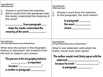STAAR Reading Question and Sentence Stems for Literary Nonfiction (Biographies)