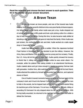 Staar reading passages teaching resources teachers pay teachers staar reading passage audie murphy fandeluxe Image collections
