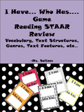 STAAR Reading Review Game- I have Who has (Benchmark) (STAAR) (Key Terms)