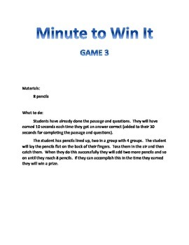 Reading Activity Review Game- Minute to Win It- Fiction Passage 2