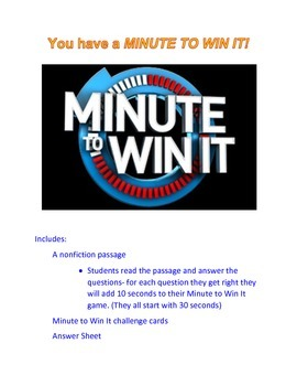 Reading Review Game- Minute to Win It Theme- Nonfiction Passage