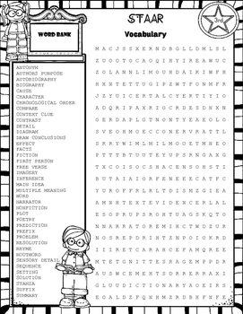 STAAR Reading Review Word Search~3rd Grade