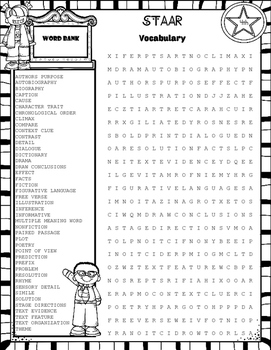 STAAR Reading Review Word Search~4th Grade