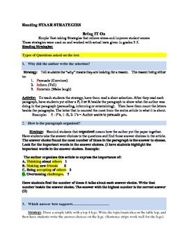 """""""STAAR"""" Reading STRATEGIES for Grades 3rd-5th"""