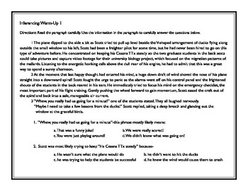 STAAR Reading Skills Practice-Inferencing Warm-Ups