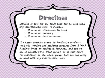 STAAR Reading Stem Questions Informational Text