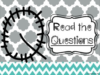 STAAR Reading Strategies (Chevron and Cloud Quatrefoil Teal, Grey, and Yellow)
