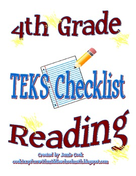 STAAR Reading TEKS Checklist (4th Grade)