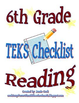 STAAR Reading TEKS Checklist (6th Grade)
